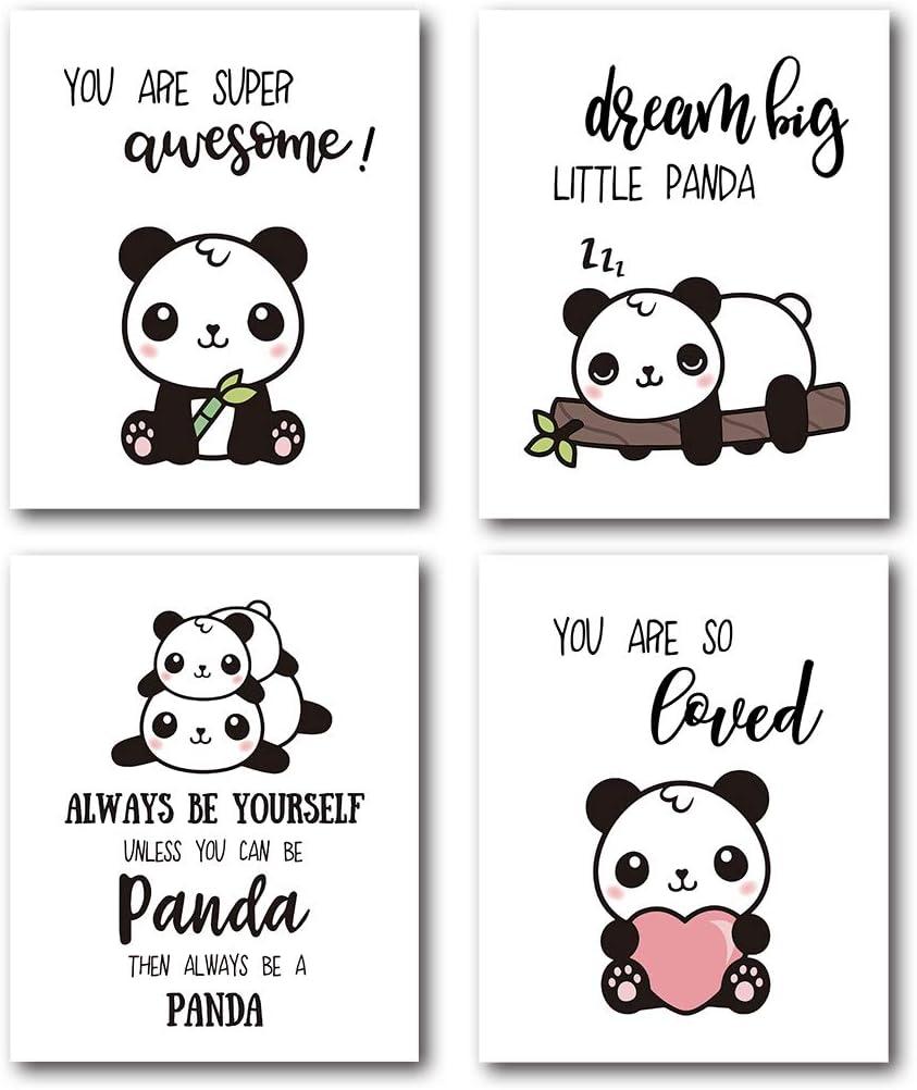 XUWELL Inspirational Quotes Panda Wall Art Prints Poster, Cute Panda Gifts, Panda Posters for Girls Kids Boys Bedroom Nursery Decor, 8 x 10 Inch Set of 4 Prints, Unframed