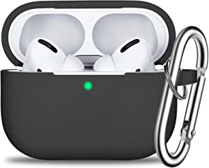 AirPods Pro Case Cover with Keychain, Full Protective Silicone Skin Accessories for Women Men Girl with Apple 2019 Latest AirPods Pro Case, Front LED Visible-Black
