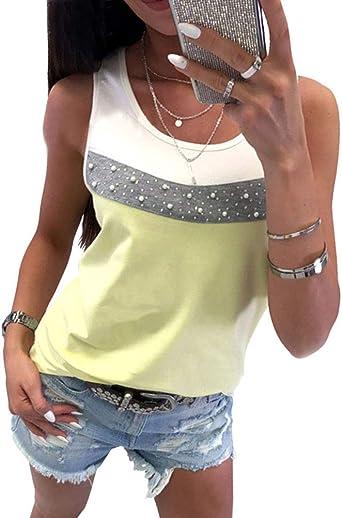 Tomwell Camisetas Sin Mangas Mujeres Moda Cuello Redondo con Cuentas Blusa Chic Chaleco De Verano Playa Camiseta Suelto Casual Tank Tops: Amazon.es: Ropa y accesorios