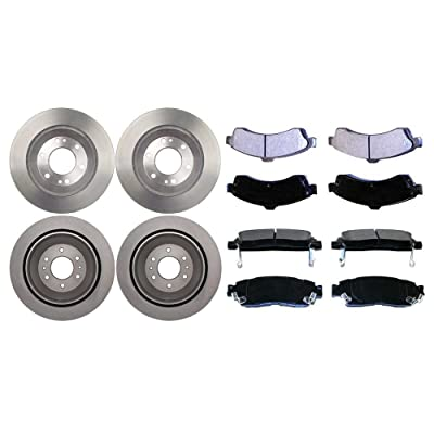 Auto Shack SMK8824822 4 Front and Rear Disc Brake Rotors and 8 Semi Metallic Brake Pads: Automotive