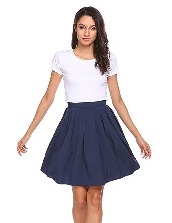 d2818e0408f4 Zeagoo Basic Versatile Flared Skater Skirt Pleated Skirt with Pockets US  Size, Navy Blue,