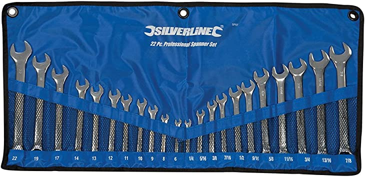 22PC METRIC AF DROP FORGED COMBINATION SPANNER WRENCH SET IN CASE 6-19MM 1//4-7//8