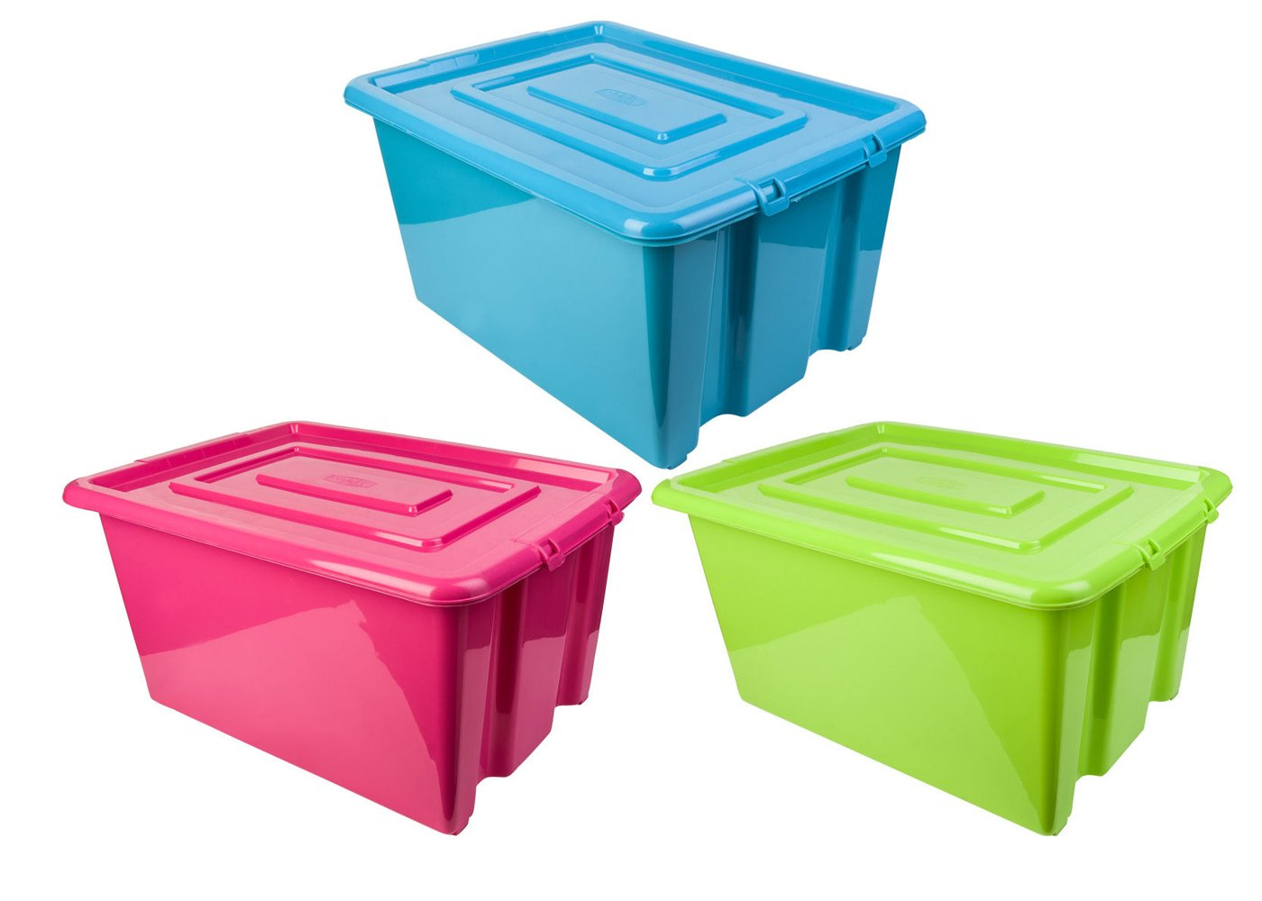 Colourful Whitefurze Plastic Stackable Container Medium Storage Box With Lid 32L (Bright Green) Amazon.co.uk Kitchen u0026 Home  sc 1 st  Amazon UK & Colourful Whitefurze Plastic Stackable Container Medium Storage Box ...