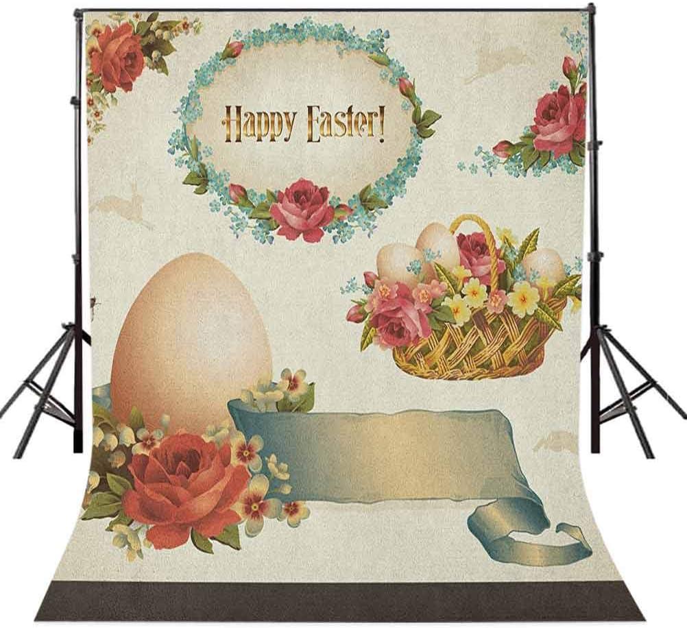 7x10 FT Vinyl Photography Backdrop,Vintage Style Wedding Invitation Card with Motif Flower Illustration Background for Photo Backdrop Baby Newborn Photo Studio Props