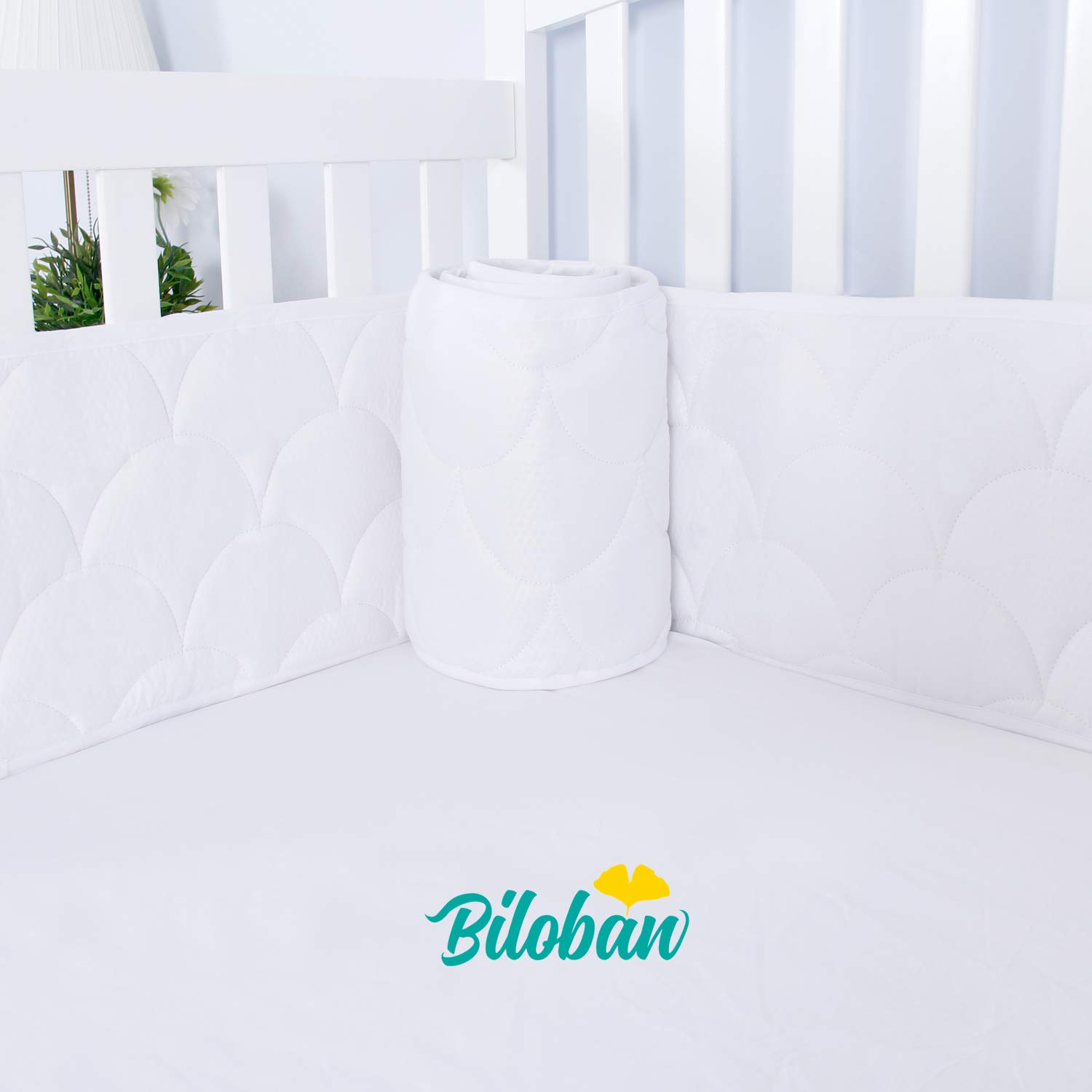 Breathable Crib Bumper Pads for Standard Crib, Nursery 3D Wave Print Crib Bedding Bumper Liners for Boys Girls 4 Pieces/Set, White by Biloban