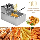 10L 2.5KW Countertop Stainless Steel Single Container Tank Electric Deep Fryer