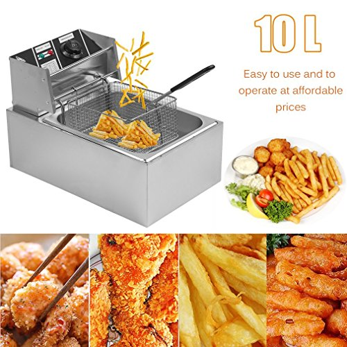 - GOGOUP 10L Commercial Electric Deep Fryer, Countertop Stainless Steel Single Container Tank with Basket for Restaurant Kitchen