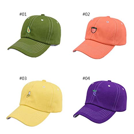 bfc6d105a47bf Harajuku Peach Fruit Embroidery Baseball Cap Cute Adjustable Outdoor Caps  Summer Sun Protection Dad Hats at Amazon Women s Clothing store
