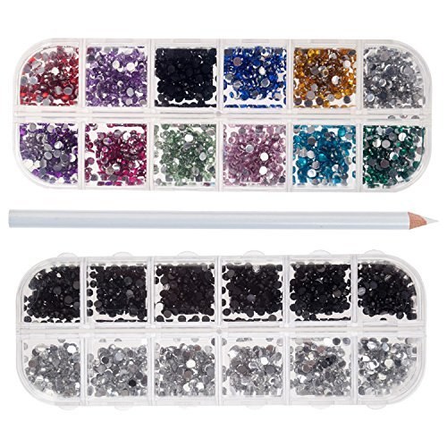 Nail Art Manicure Designs Set Including Rhinestones Crystals Decorations In Different Colors, Dotters Dotting Tools, Brushes, Stamping Plates Templates, Stamper, Scraper and Picker Pencil by VAGASHOP (Image #4)