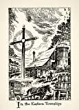 1947 Lithograph Quebec Canada Eastern Township Barn Silo Horse Milkman Dairy Art - Original In-Text Lithograph