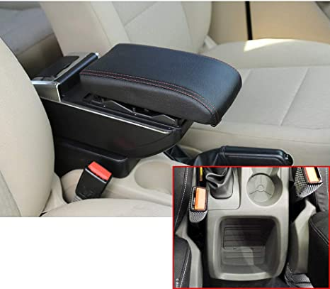 For 2009-2017 F ord Fiesta 3 MK7 Luxury Car Armrest Center Console Accessories Arm Rest Built-in LED Light black