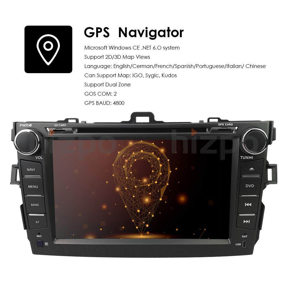Amazon.com: hizpo Car DVD Player 8 Inch Touch Screen GPS Stereo iPhone  Music/AM FM Radio/SWC/Bluetooth/3G/AV-IN Map Card + Rear Camera Fit F or  Toyota ...