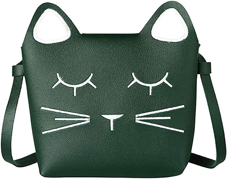 4a27df26059d Little Girls Handbag Shoulder Bag Cute Cat PU Leather Mini Crossbody  Messenger Bag Purse for Kids Toddler Girls (Green)  Amazon.co.uk  Shoes    Bags