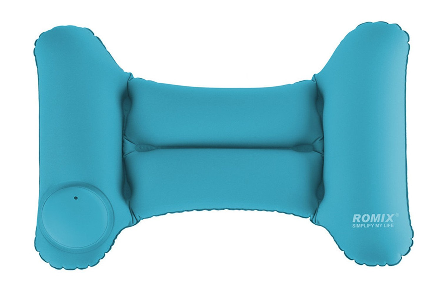 Jieyao Inflatable Travel Pillow for Airplanes Portable Lower Back Support Pillow with a Built-in HAND PUMP,Foldable and Washable.(blue)