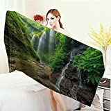 Anhounine Bathroom Towels Waterfall Decor Waterfalls side Valley in Indonesia with Asian Bushes above the Hills Bath Pool Shower Towel for Kids 55''x27.5'' Green and Brown
