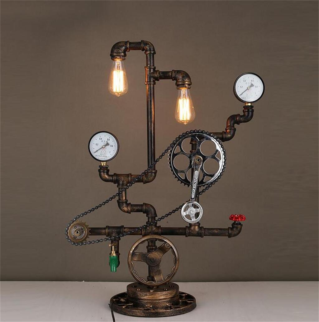 Tischleuchte-- Industrie Eisen-Lampe kreative Restaurant Bar Achsen Abbildung D personalisierten Wassertischlampe