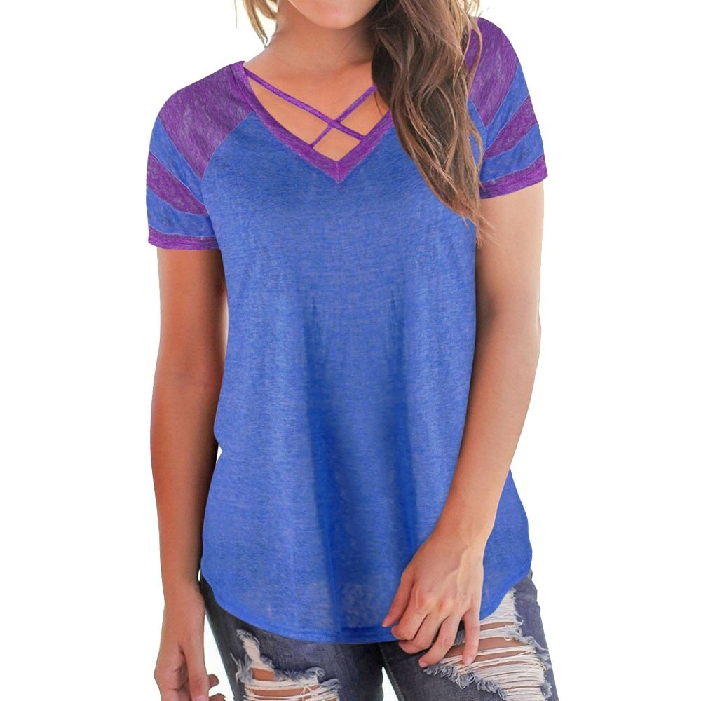 WOCACHI Women Blouse Women's Casual Short Sleeved Patchwork V-Neck T-Shirt Tops