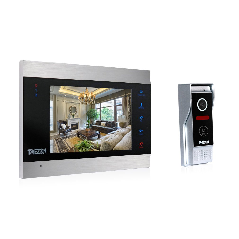 TMEZON 7 Inch TFT Color Display Wired Video Door Phone Doorbell Intercom System Night Vision 1V1 1200TVL HD Home House Security