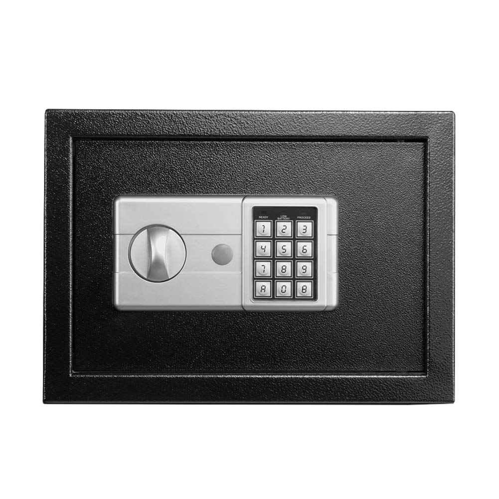 SUBBYE Digital Safes for Home - Black Steel Safe Box with Keypad, 2 Manual Ways to Open - Protect Money, Jewelry, Documents, Passports, Ideal for Office, Business, College Dorm by SUBBYE