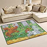 Two Fighting Roosters Area Rugs Pad Non-Slip Kitchen Floor Mat for Living Room Bedroom 3'3 x 5′ Doormats Home Decor
