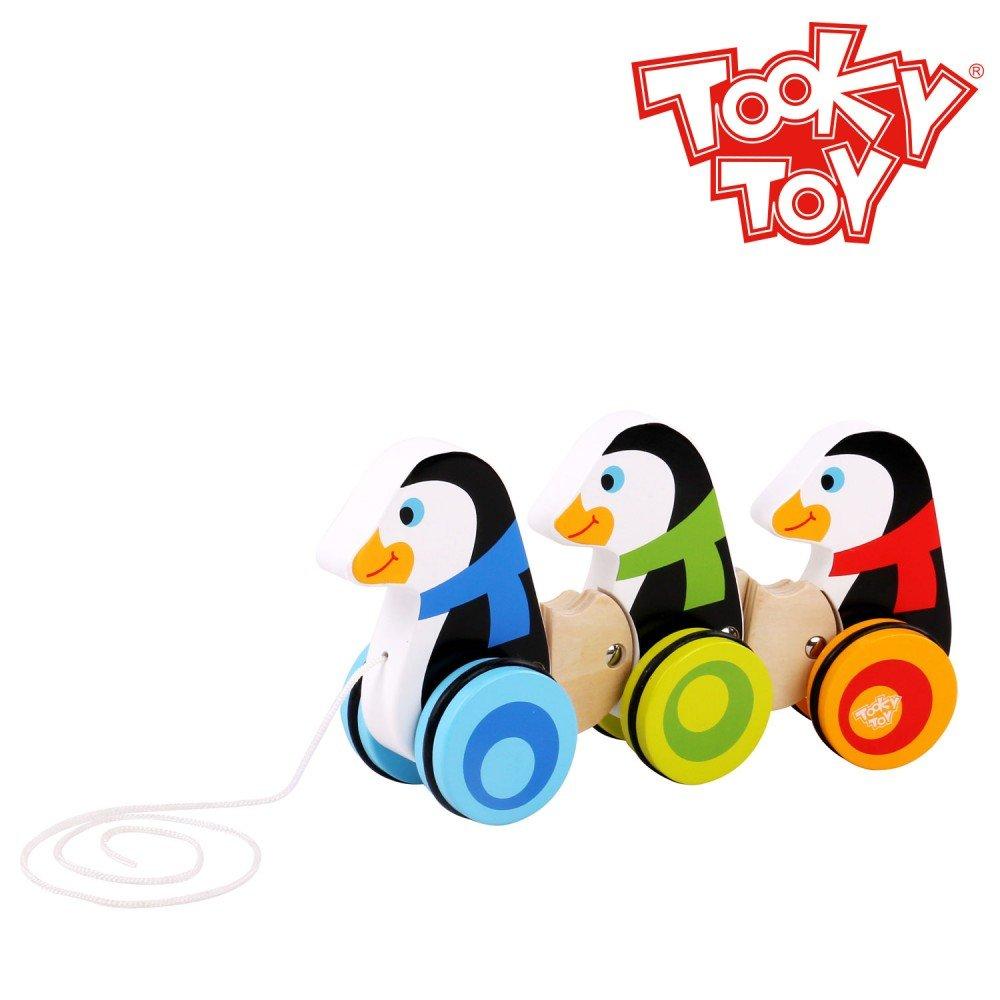 Tooky Toy TKC420 Holzspielzeug Pinguine zum Hinterherziehen Spielspa/ß mit bunten Farben ab 3 Jahren