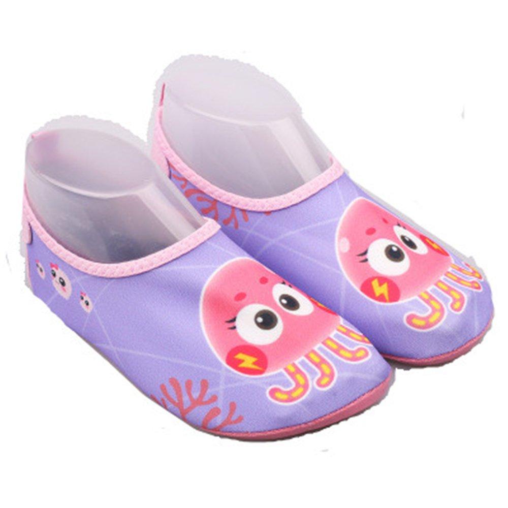 edv0d2v266 Kid Swim Water Shoes Quick Dry Toddler Barefoot Aqua Socks for Beach Pool Surfing Yoga Boys Girls(Purple 34/2.5 M US Little Kid)