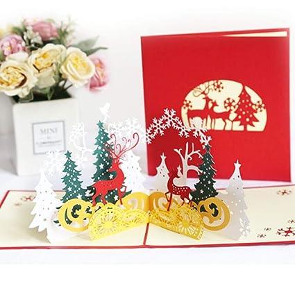 Tarjetas de Navidad,Tarjetas de Felicitación 3D con sobres para Navidad, festival, cumpleaños, gracias, aniversario