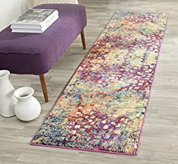 Safavieh Monaco Collection MNC225D Modern Abstract Watercolor Pink and Multi Runner (2\'2\