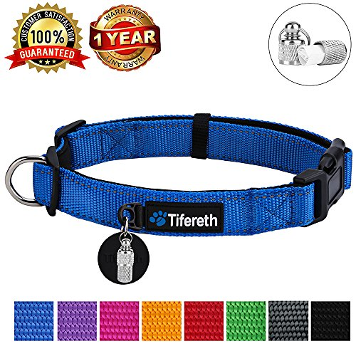Tifereth Dog Collars Nylon Buckle Dog Collar Comfortable Dog Collar Padded and Light Weight 8 Colors Small Medium Large Sizes (Free Pet ID Tag) (X-Large, Blue)