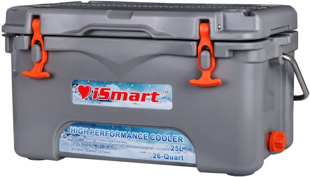iSmart 26 Quart Ice Chest Rotomolded Cooler Box with Bottle Opener,High Performance Commercial,Gray,25L