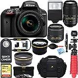 Nikon D3400 24.2 MP DSLR Camera + VR Lens Kit + Bundle 64GB SDXC Memory + Photo Bag+Wide Angle Lens + 2x Telephoto+Flash+ Remote +Tripod+Filters (18-55mm & 55-300mm Dual VR Zoom Lens Package (Black)