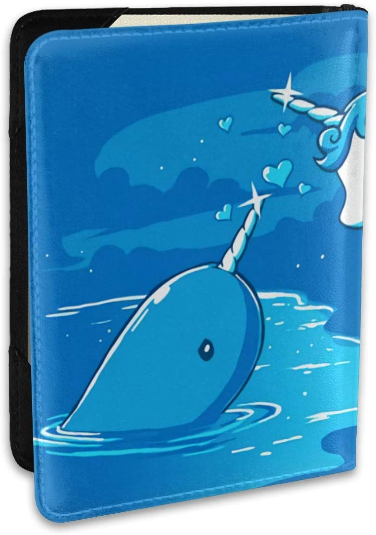 Narwal Date With Unicorn Fashion Leather Passport Holder Cover Case Travel Wallet 6.5 In