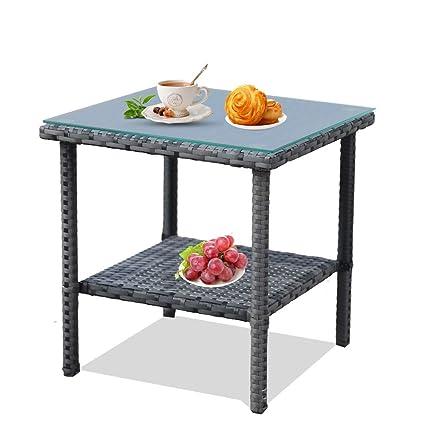 Amazon.com: Mesa de café de mimbre para interior y exterior ...