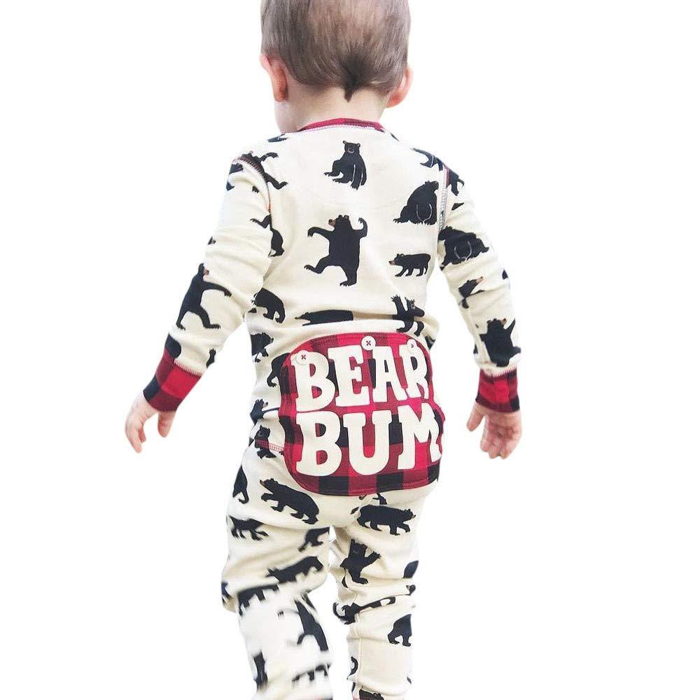 kaiCran Baby Bear Romper Boy Girl Long Sleeve Cute Onesie with Bear Bum Letter Print Plaid Jumpsuit