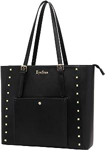 Laptop Tote Bag,13-15.6 Inch Laptop Bag Briefcase for Women Work with Comfortable Shoulder Strap (Black)