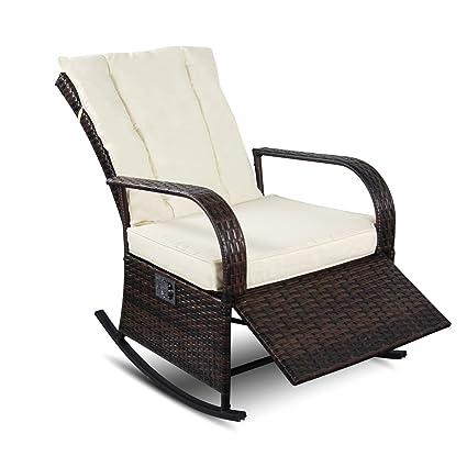 Amazon Com Yikeea 1 2 Pieces Patio Pe Rattan Wicker Rocking Chair
