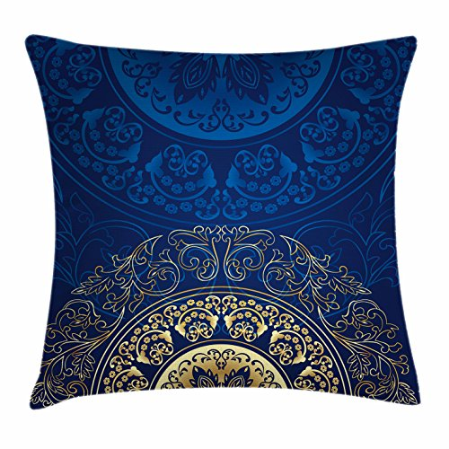 Lunarable Royal Blue Throw Pillow Cushion Cover, Vintage Eastern Circular Floral Arabesque Old Fashioned Artsy Design, Decorative Square Accent Pillow Case, 20 X 20 Inches, Royal Blue and Yellow