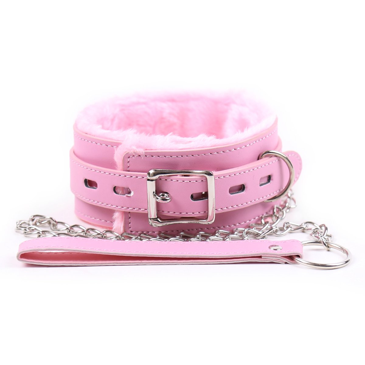 DERENHER Adjustable Faux Fur Lined Choker Pink Pvc Leather Neck Collar and Leash Kit (Pink) by DERENHER (Image #1)
