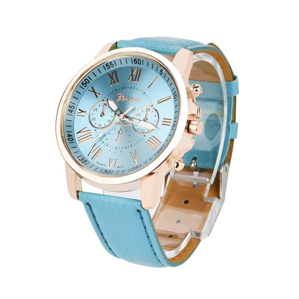 JiaMeng Reloj de Cuarzo analógico para Mujer con Correa de Cuero sintético Geneva Numerals para Mujer(Multicolor1): Amazon.es: Ropa y accesorios
