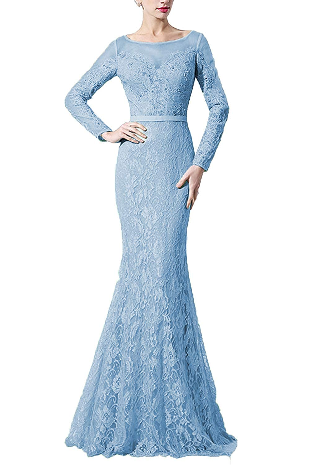 bluee SDRESS Women's Lace Mermaid Evening Dress with Sleeves Crystal Beaded Formal Dress Long