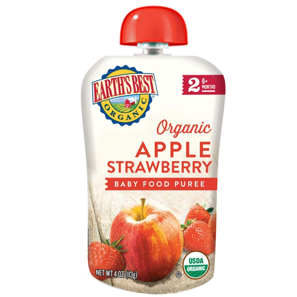 Earth's Best Organic Stage 2 Baby Food, Apple Strawberry, 4 Oz Pouch (Pack of 12)