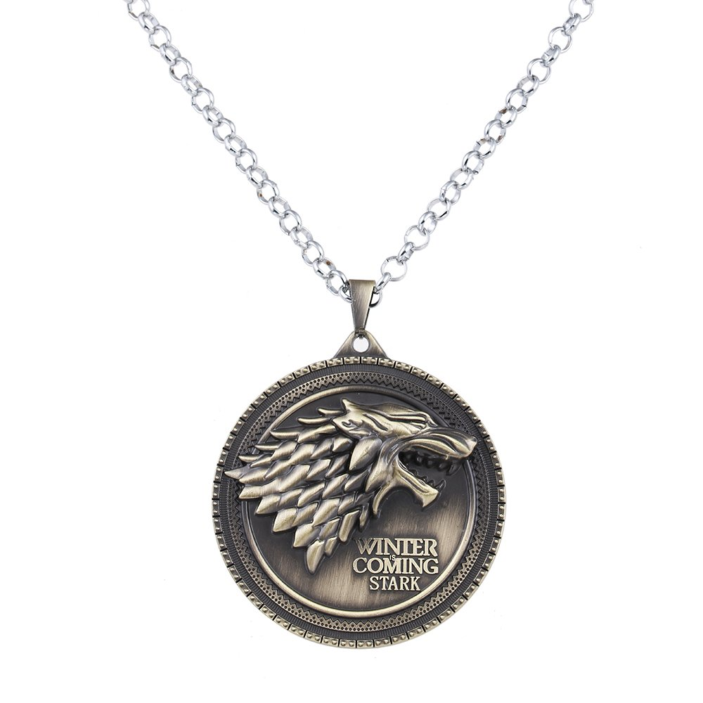 Lureme Inspired By Game of Thrones Vintage Stark Dire Wolf Pendant Necklace-Antique Bronze (nl005380-2)
