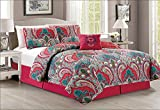 Fancy Collection 5pc King Size Quilted Coverlet Bedspread Set Floral Red Teal Green Pink Off White Reversible New