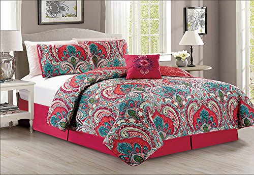 Fancy Collection 5pc King Size Quilted Coverlet Bedspread Set Floral Red Teal Green Pink Off White Reversible New by Fancy Linen