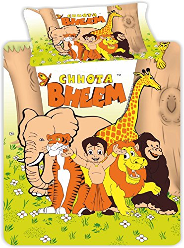 Ahmedabad Cotton Chhota Bheem 160 TC Cotton Single Bedsheet with 1 Pillow Cover – Multicolour.