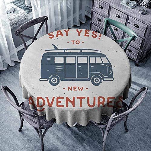 - ScottDecor Kids Round Tablecloth Vintage,New Adventures Typography with Little Van Hippie Lifestyle Free Spirit Print,Cadet Blue White Picnic Cloth Diameter 50