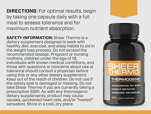 THERMO Fat Burner (60ct) - Thermogenic Weight Loss Supplement for Women & Men - Yohimbine, Green Tea Extract, More - Non-GMO Diet Pills - Sheer Strength Labs