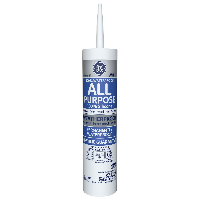 GE Silicone I All Purpose Caulk, 10.1 Oz. Tube, White, GE112A