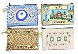 4 pcs Turkish Element Fabric Coin Zip Various Pattern Handmade Wallet (Sent Randomly)