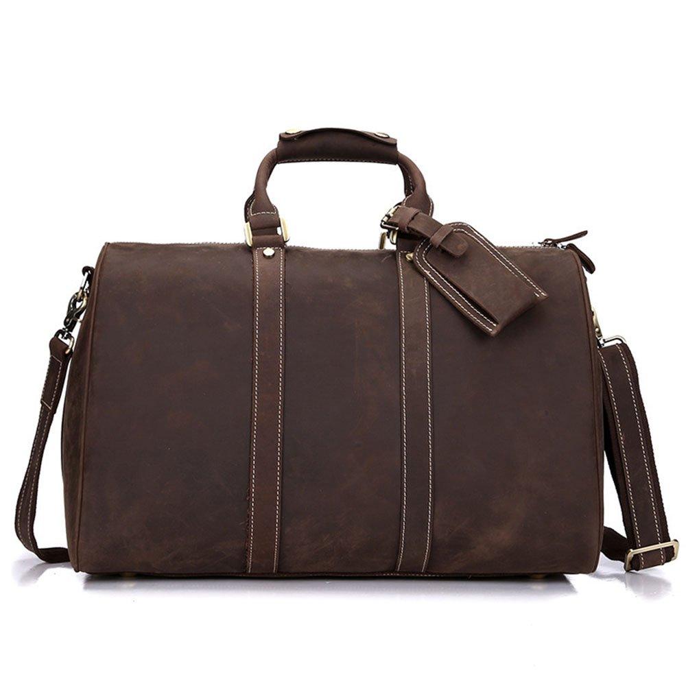 スタイリッシュなシンプルさ大容量牛革トラベルバッグビジネスバッグメンズバッグハンドバッグショルダーバッグ 旅行用ハンドバッグ (色 : 褐色) B07NSKQZNN